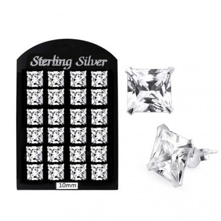 10MM CZ Square Ear Stud in 12 pair Tray