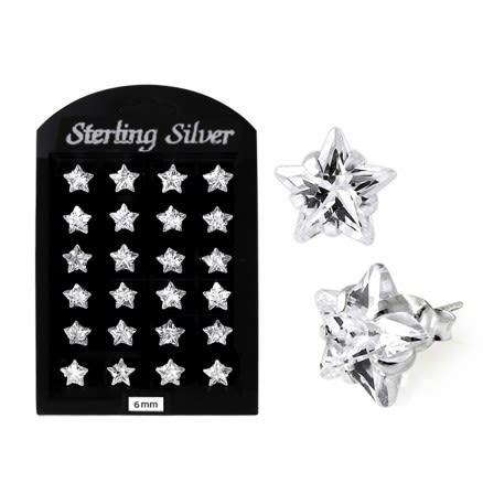 6MM CZ Star Ear Stud in 12 pair Tray