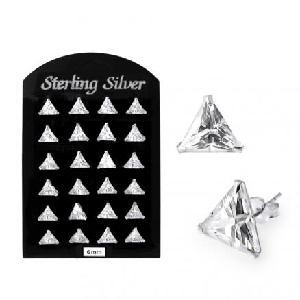 6MM CZ Triangle Ear Stud in 12 pair Tray