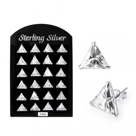 7MM CZ Triangle Ear Stud in 12 pair Tray
