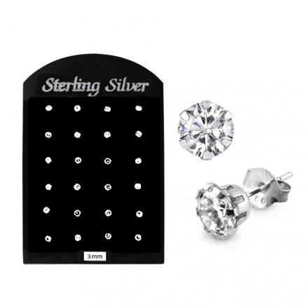 3MM CZ Round Ear Stud in 12 pair Tray