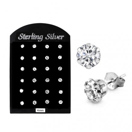 4MM CZ Round Ear Stud in 12 pair Tray