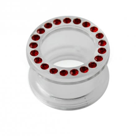 UV Transparent Multi Garnet Red Jeweled Ear Flesh Tunnel