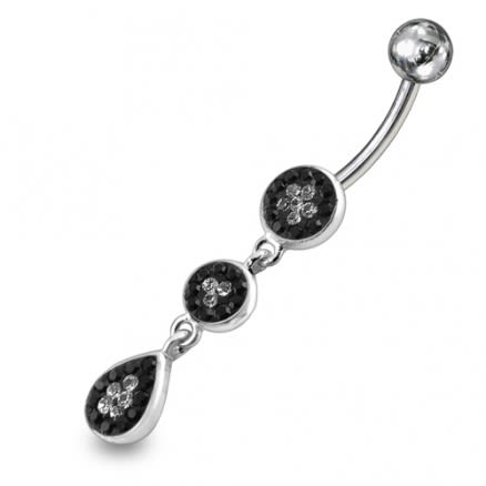 Black And White Crystal Stone Banana Bar Belly Button Ring