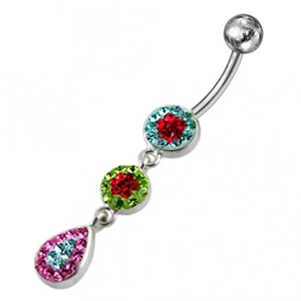 Mix Color Crystal Stone Star Design With SS Bar Curved Bar Navel Ring