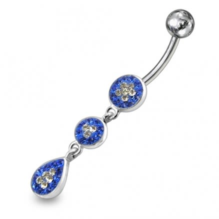 Blue With White Crystal stone Star Studded With SS Banana Bar Belly Ring