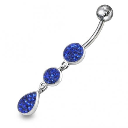 Blue Crystal Stone Dangling With 316L SS Banana Bar Navel Ring