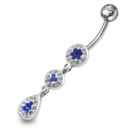 White And Blue Crystal Stone Star Dangling SS Bar Belly Ring