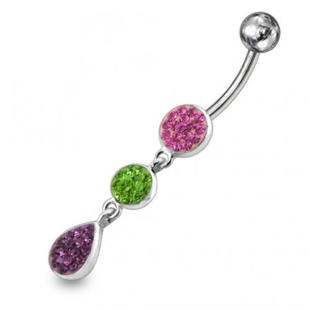 Triple Color Crystal Stone Silver Dangling With 316L SS Bar Navel Ring