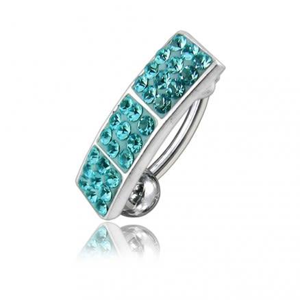 Sky Blue Color Crystal Stone Reverse Belly Banana Bar Ring