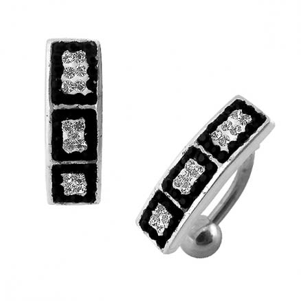 Black And White Crystal Stone SS Banana Belly Ring (