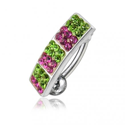 Multi Color Crystal Stone Reverse Bar Navel Ring FDBLY029