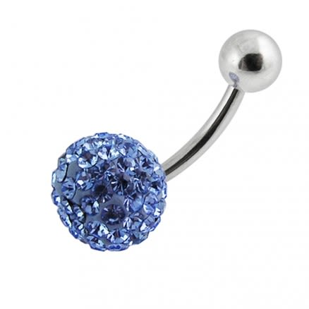 Sky Blue Single Color Crystal Stone Navel Banana Bar Belly Ring