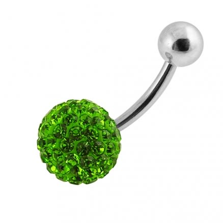 Single Green Color Crystal Stone Belly Body Jewelry Ring FDBLY039