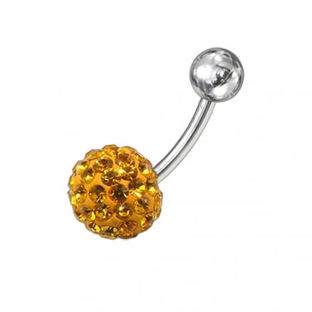 Yellow Preciosa Crystal Stone With SS Curved Bar Belly Ring