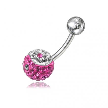 Pink And White Crystal Stone Belly Ring FDBLY044