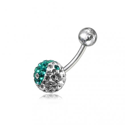 Multi Color Crystal stone SS Navel Belly Ring FDBLY050