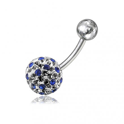 316L Surgical Steel Mix Crystal Stone SS Bar Navel Belly Button Ring