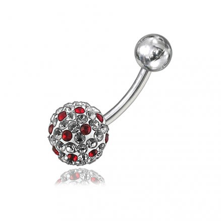 Multi Color Crystal Stone With SS Curved Bar Belly Ring