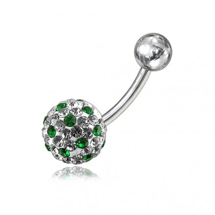 Green And White Crystal Stone Balls SS Bar Curved Navel Ring Body Jewelry