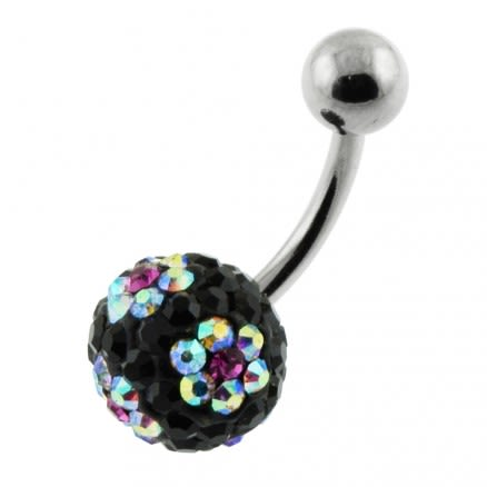 Black And Mix Color Crystal Stone Ball With SS Banana Bar Belly Ring