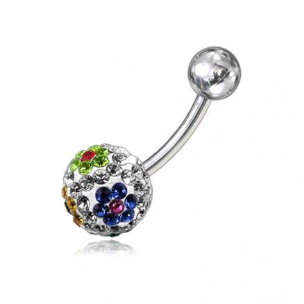 Mix Crystal Stone Balls With Curved Banana Bar Belly Ring