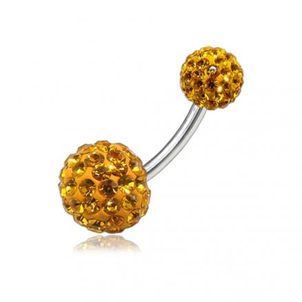 Yellow Color Crystal Stone Balls With Steel Bar Navel Ring FDBLY085
