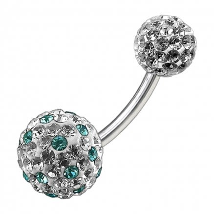 Multi Color Crystal Stone Balls With Surgical Steel Banana Bar Belly Ring FDBLY087