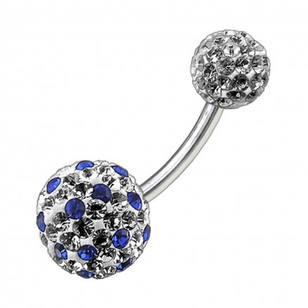 Blue White Crystal Stone With Steel Bar Navel Ring FDBLY098