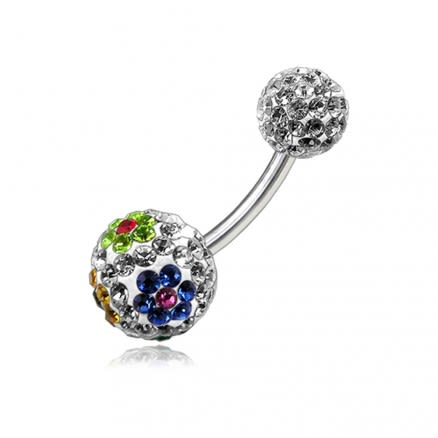 Multi Color Crystal Stone Flower Balls With SS Bar Belly Ring FDBLY102
