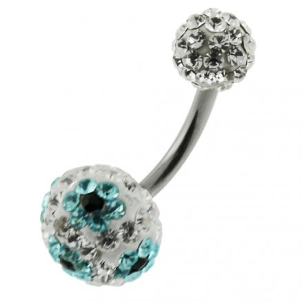 Multi Color Crystal Stone Balls With SS Bar Belly Ring FDBLY103