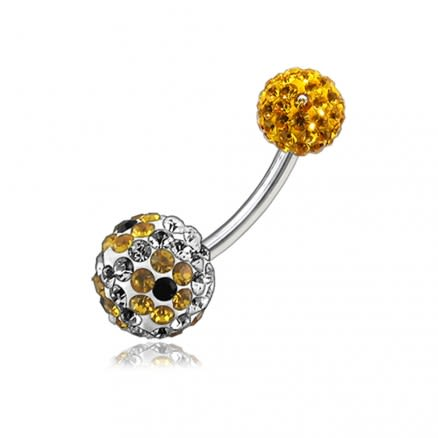 Multi Color Crystal Stone Balls With SS Bar Belly Ring FDBLY104
