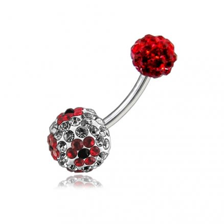 Multi Color Crystal Stone Flower Balls With SS Bar Navel Belly Ring  FDBLY107