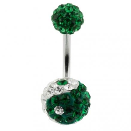 Green Crystal Stone Balls With SS Banana Bar Navel Ring