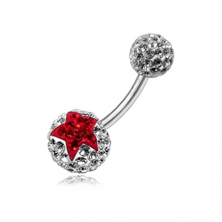 Red Crystal Stone Star With SS Bar Navel Ring Body Jewelry