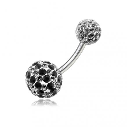 Mix Color Crystal Stone Balls With SS Navel Ring Body Jewelry