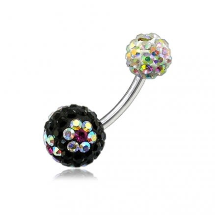 Multi Color Crystal Stone Flower With SS Bar Banana Navel Ring
