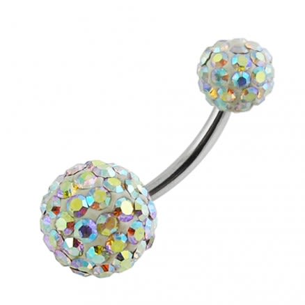 Rainbow Multi Color Crystal Stone Ball With SS Bar Belly Ring FDBLY119