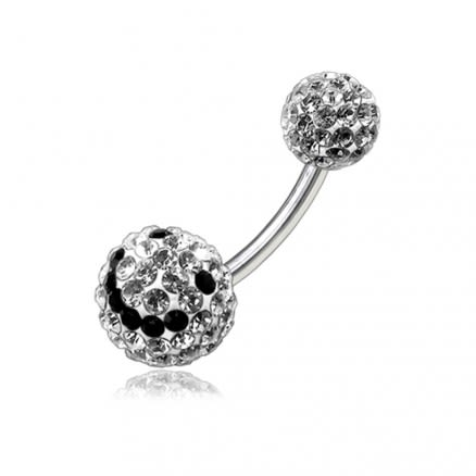 Blacj And White Smiley Crystal stone 12mm Ball With Banana Bar Belly Ring