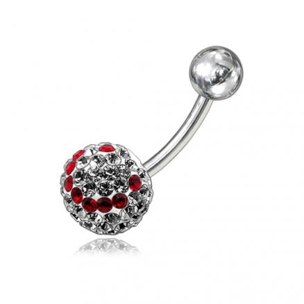 Red And White Crystal stone Smiley With SS Bar Navel Body Jewelry Ring FDBLY135