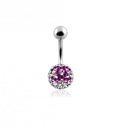 preciosa Pink And White Crystal stone Navel Ring