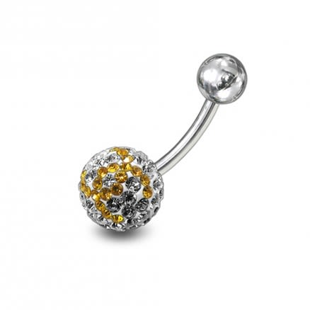 preciosa Yellow With White Crystal stones Navel Ring Body Jewelry