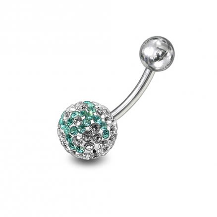 preciosa White And Light Green Crystal stone Navel Ring