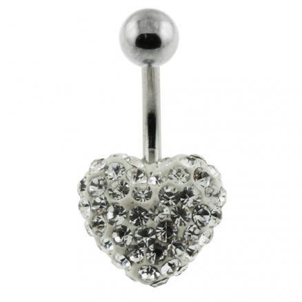 White Crystal stone Heart With SS Banana Bar Navel Ring
