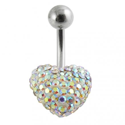 Crystal Stone Heart Navel Belly Ring