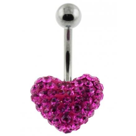 preciosa Crystal stone Heart With SS Banana Bar Navel Belly Ring