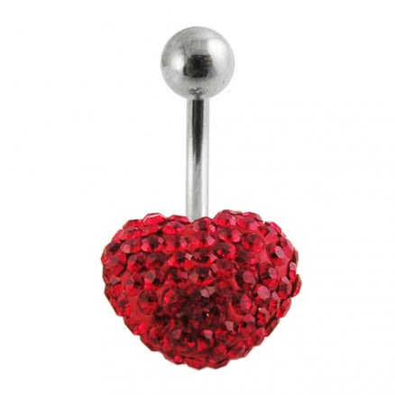 Cherry Color Crystal stone Heart With SS Curved Bar Navel Belly Ring