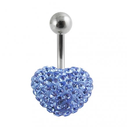 preciosa Crystal stone Heart Curved Navel Ring