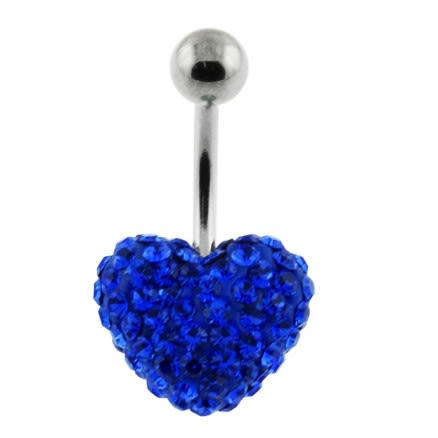 Royal Blue Crystal stone Heart With Curved Bar navel Ring