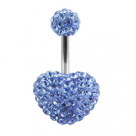 preciosa Blue Crystal stone Heart Navel Ring